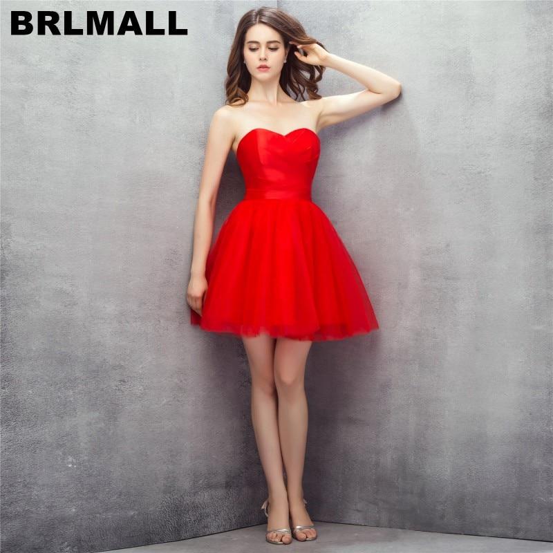 BRLMALL Simple élégant rouge robes de bal 2017 chérie dos nu court retour robes Tulle pas cher robe de soirée cocktail