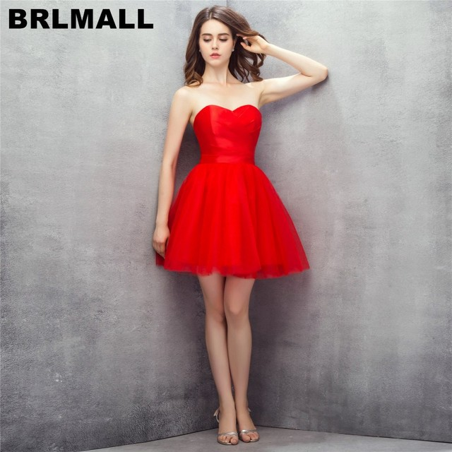 BRLMALL Simple Elegant Red Prom Dresses 2017 Sweetheart Backless ...