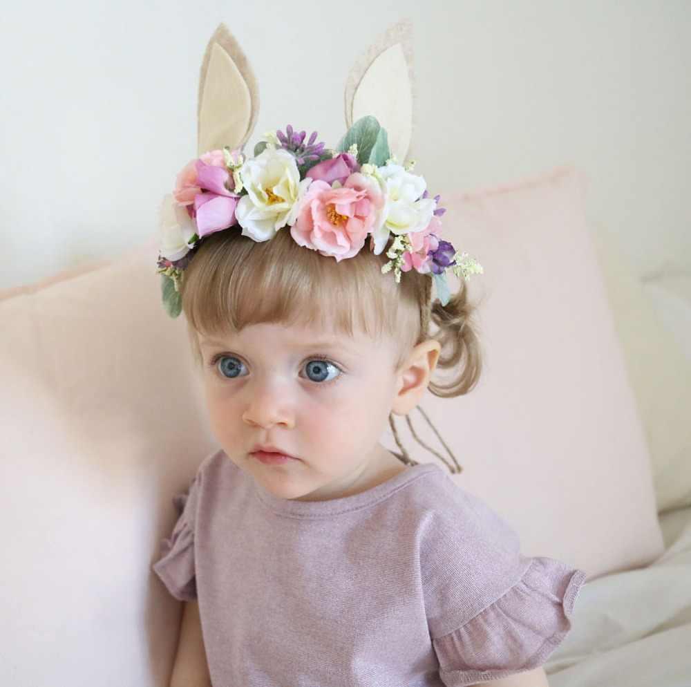 1ชิ้นในการขายหูกระต่ายคาดศีรษะเด็กดอกไม้T Iebackกระต่ายมงกุฎวงผมสาวกระต่ายHeadbandsอีสเตอร์อุปกรณ์ผม