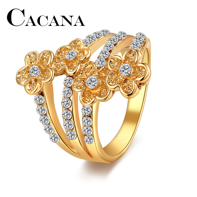 CACANA Wedding Bands Rings For Women FlowerMetal Zinc Alloy Engagement Party Trendy Cubic Zirconia Gold-color Ring Jewelry