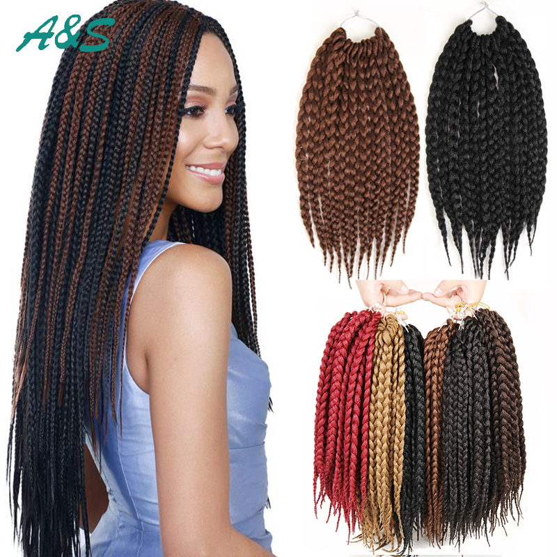 "12'' 18"" 22"" Crochet Braids Hair BOX Braids Hair 100g/pack Havana Mambo BOX Braid Styles High ..."