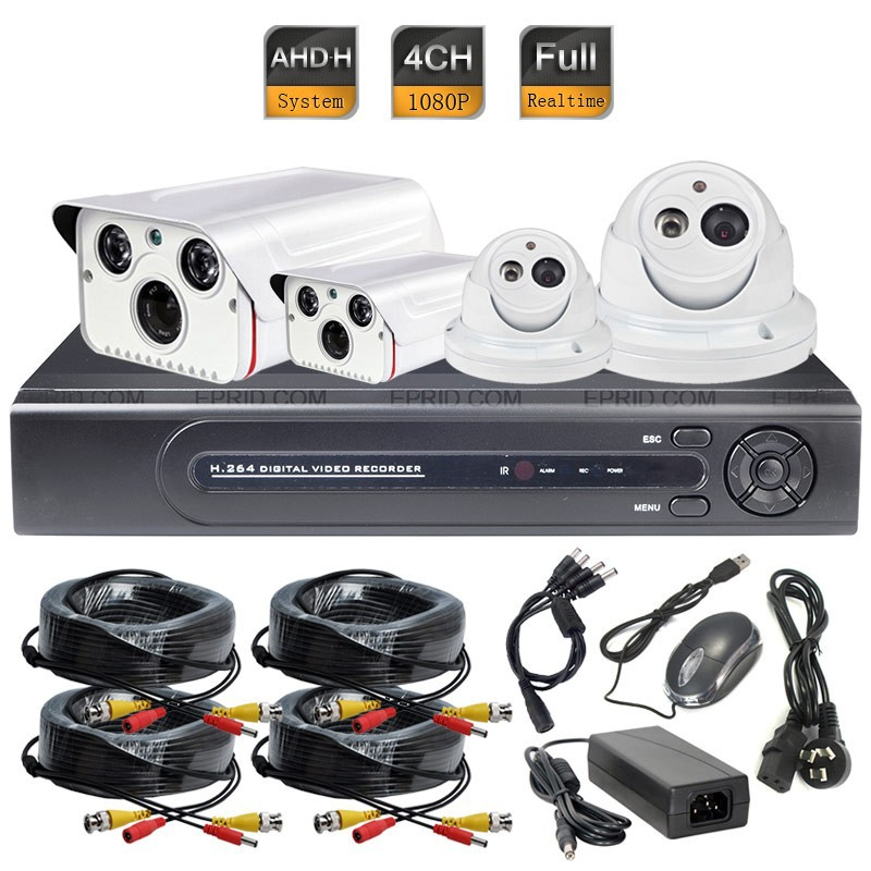 4CH AHD-H 2.0MP Array IR Metal Security Camera 1080P Full Realtime DVR System ...