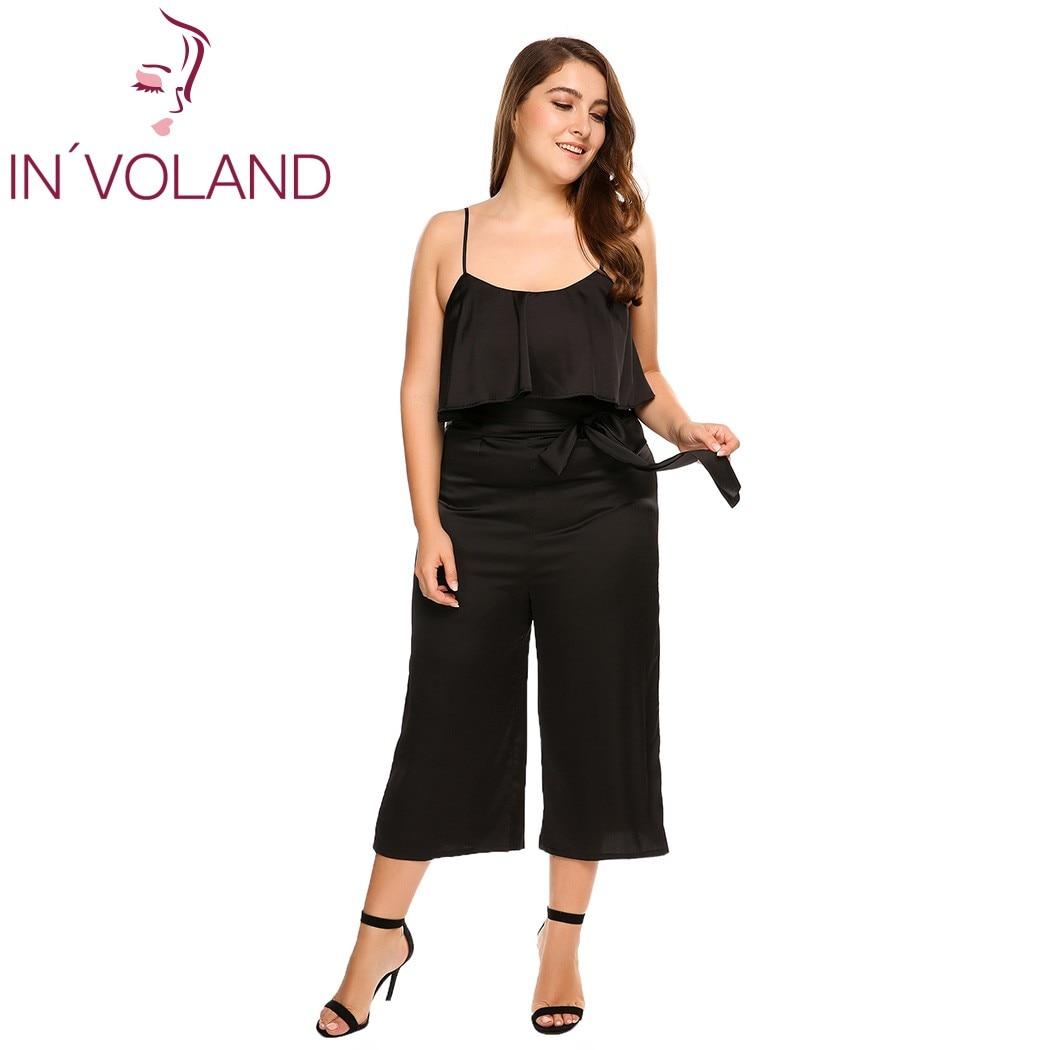 IN'VOLAND Women Jumpsiut Plus Size Sexy Spaghetti Strap Ruffle Wide Leg Pants Solid Loose Feminino Jumpsuit Romper Oversized 3XL