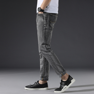 Image 3 - Classic Mens Dark Grey Jeans 2020 New Pants Fashion Casual Cotton Elastic Slim Fit Brand Trousers Male