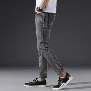 Image 3 - Klasik erkek koyu gri kot 2020 yeni pantolon moda rahat pamuk elastik Slim Fit marka pantolon erkek