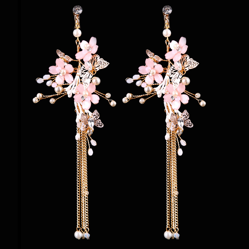 SLBRIDAL Gorgeous Rhinestones Crystals Pearls Butterfly Bridal Wedding  Chandelier Earring Dangle Tassels Earring Women Jewelry bc55c255a804
