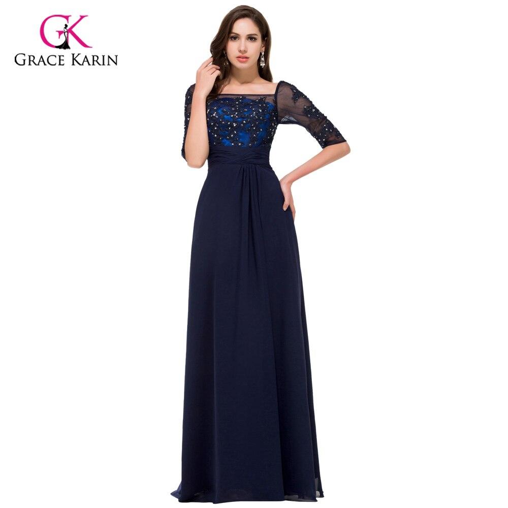 ᗛElegant Grace Karin Navy blue Long Sleeve Evening dresses 2018 New ...