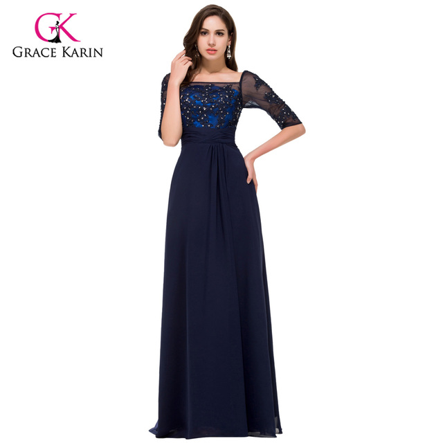 Elegant Grace Karin Navy blue Long Sleeve Evening dresses 2018 New ...
