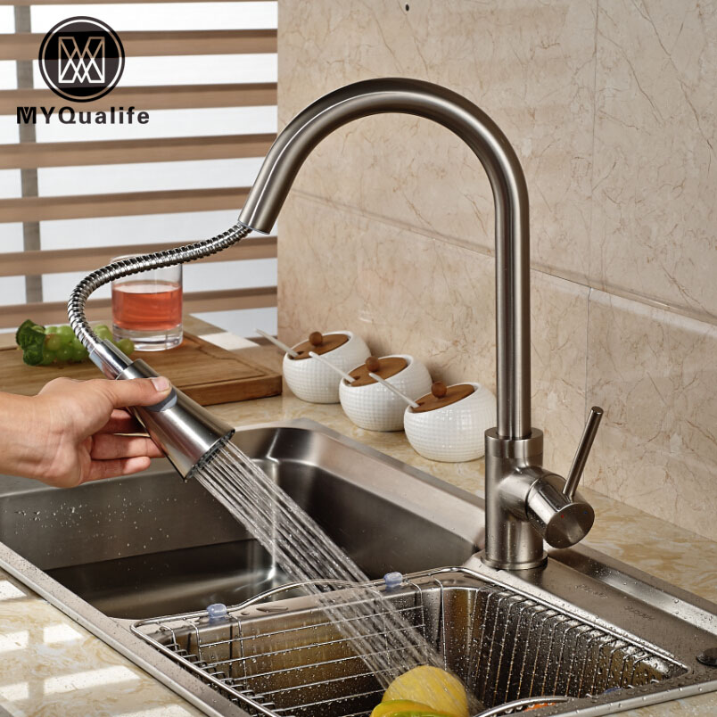 Nickel Brushed Brass Mixer Water Kitchen Faucet Pull Out Swivel Spout Vessel Sink Mixer Tap new brush nickel and chrome finished pull out spring kitchen faucet swivel spout vessel sink mixer tap pull down kitchen faucet