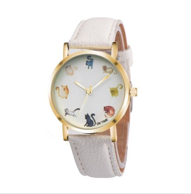 cute cat watch glasses leather