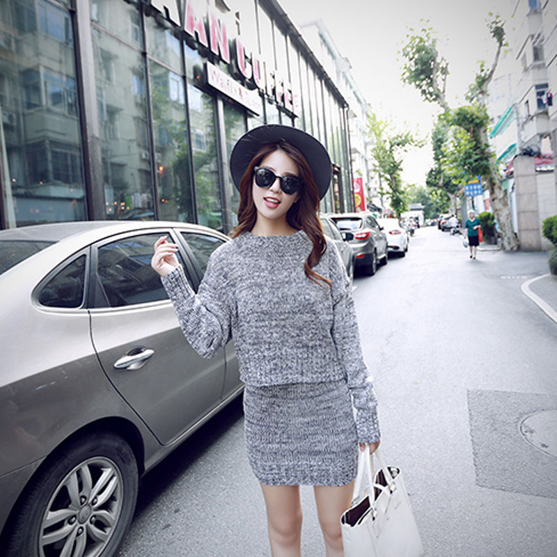 NORMOV Casual Knitting Sets Women Fashion Long Sleeve Loose Sweaters And Package Hip Skirt Winter Warm Cotton Sets Office Lady