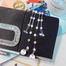 FYUAN Long Tassel Zircon Drop Earrings for Women Bijoux Pearl Crystal Dangle Earring Fashion Jewelry Gifts