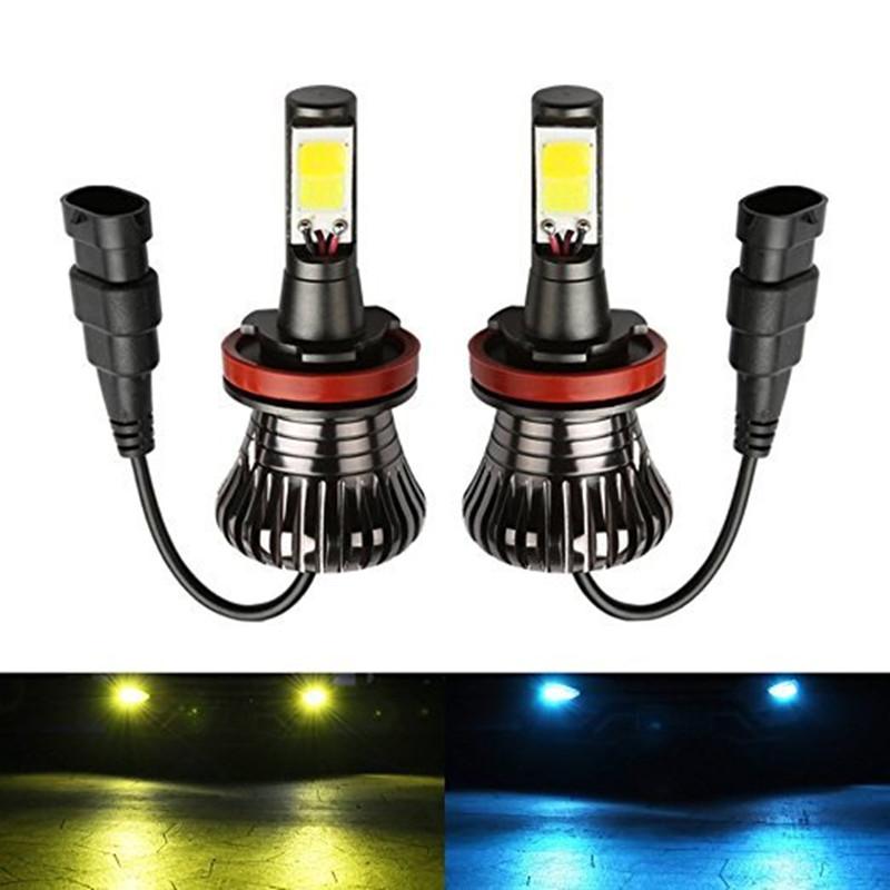 1 Pair Car Fog Driving Lights H8 H9 H11 9005 HB3 9006 HB4 H27 880 881 Bulb Lamps LED 80W White Blue Golden Dual Color 12V