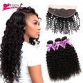 Malaysian Curly Hair with Closure Ear to Ear Lace Frontal Closure with Bundles 7A Afro Kinky Curly Human Hair with Closure