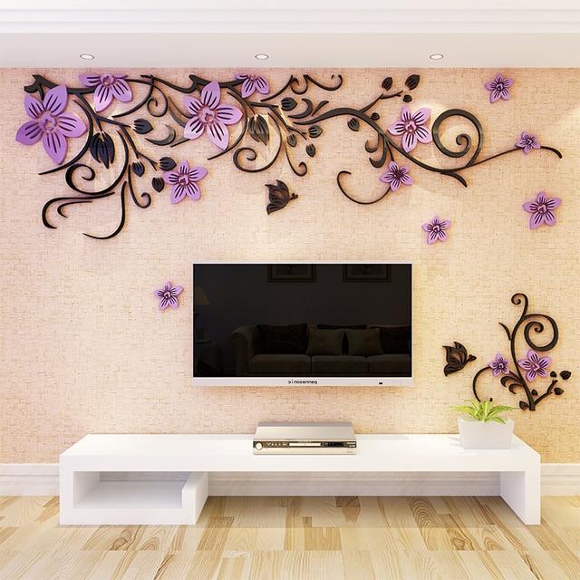 3D Wall Sticker Romantic Flower Sticker Living Room Wall Decals TV Background Decoration Maison Modern Wall Stickers Art Decals 2