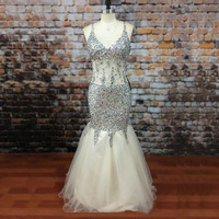 LORIE Modest Transparent Long Prom Dress Sweetheart Stones Sexy Beaded Crystals Mermaid Tulle Champagne African Evening Dresses