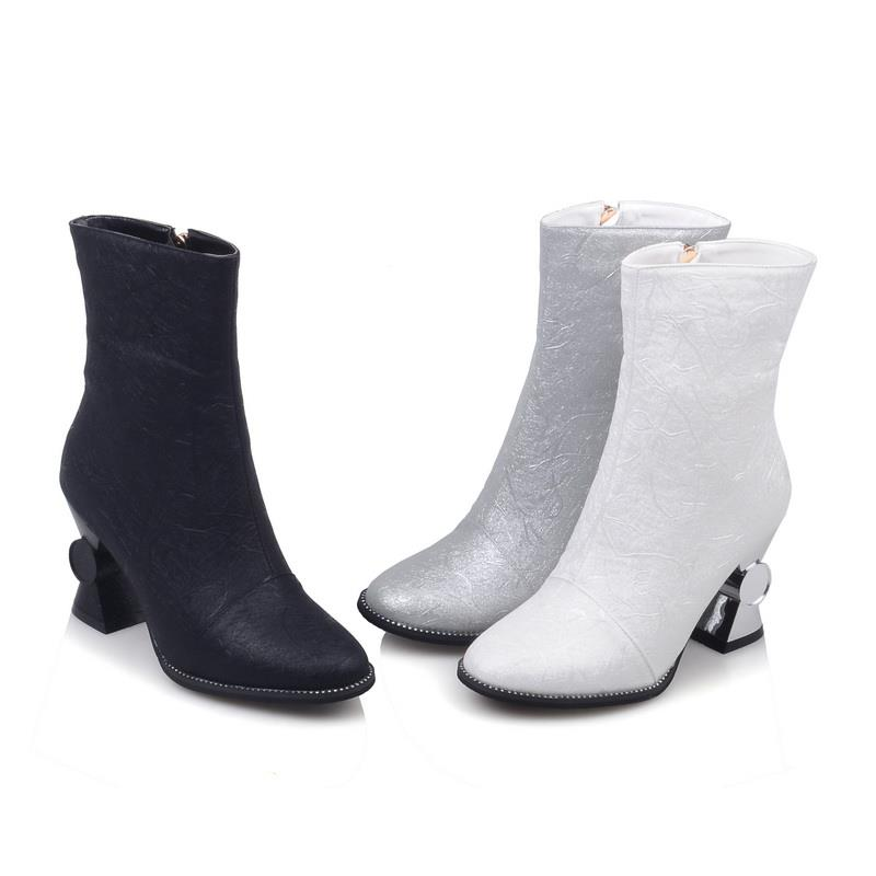 Mujer Mujeres Calidad Concisa Altos Invierno De Señoras Botas Las Zapatos blanco La Populares Smeeroon Cremallera plata Tacones Botines Oficina Buena Negro Lateral A4S86nqw