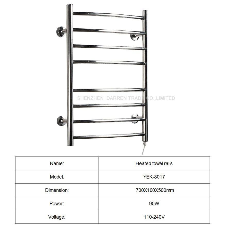 1pcs Heated Towel Rail Holder Bathroom AccessoriesTowel Rack Stainless Steel ElectricTowel Warmer Towel Dryer 80w - 2