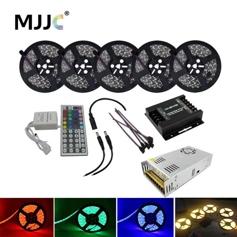 25M RGB LED Strip Light Waterproof 12V DC 5050 SMD +24A 288W Amplifier+Power Supply+IR 44 Keys Remote Control RGB LED Strip Set e4lj 2 in 1 plastic stainless steel bowl for dog cat pet blue silver