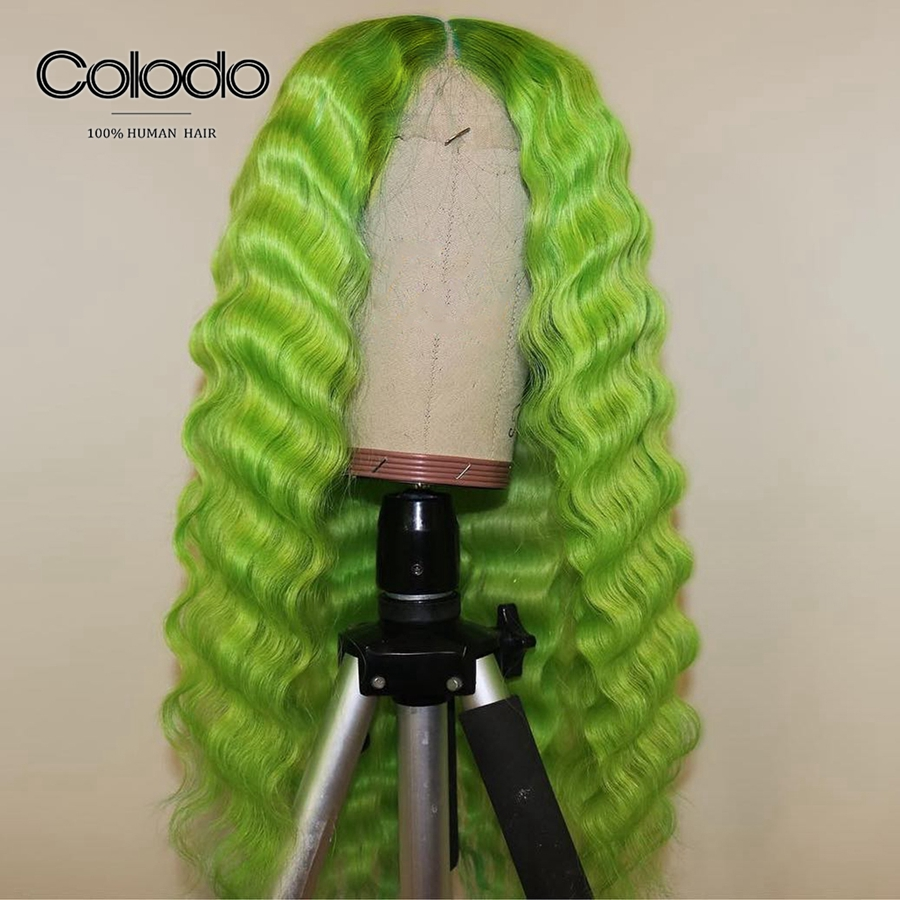 COLODO Deep Wave 613 Lace Front Wig Green Human Hair Wig With Baby Hair Pre Plucked