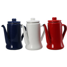 Enamel Pot 1.1L Enamel Coffee Pot Hand Tea Kettle Induction Cooker Gas Stove Universal Red White Blue Electric Kettle Camping(China)