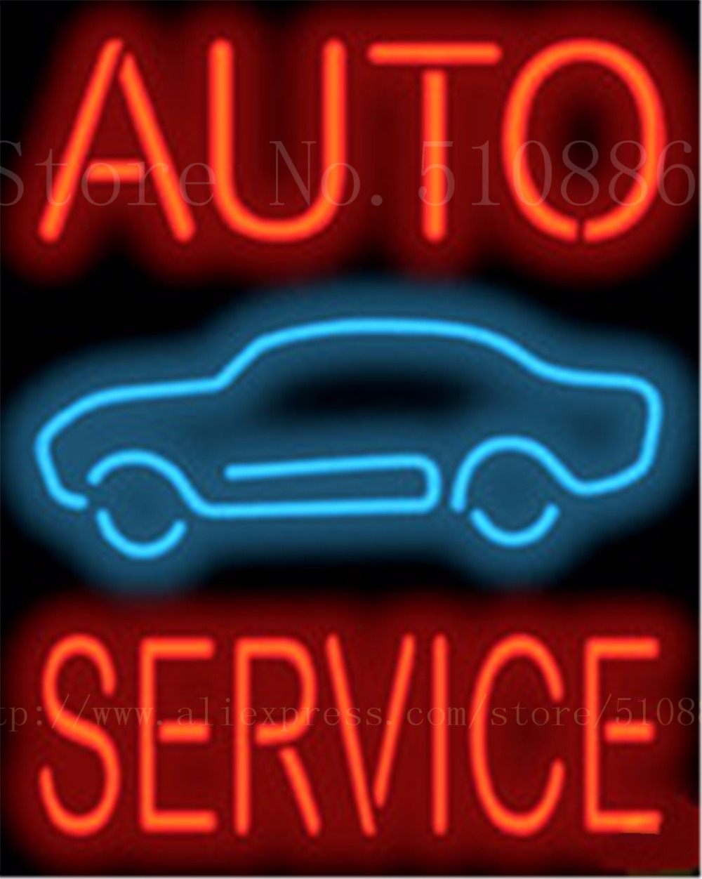 auto service car repair real glass tube car neon sign. Black Bedroom Furniture Sets. Home Design Ideas