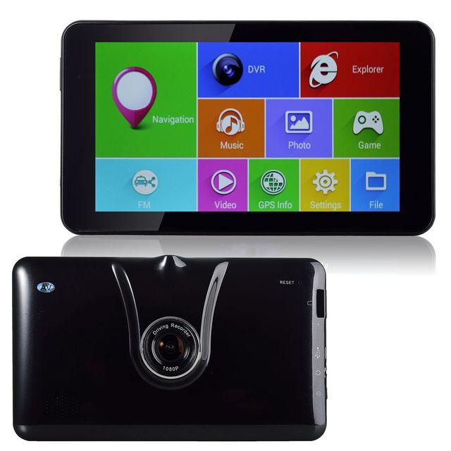 Nueva 7 pulgadas GPS WiFi DEL Androide Del Carro Del Coche Del GPS DVR 16 GB Grabador de vídeo Full HD 1080 P Bluetooth FM de Transmisión Quad-core Tablet GPS DVR