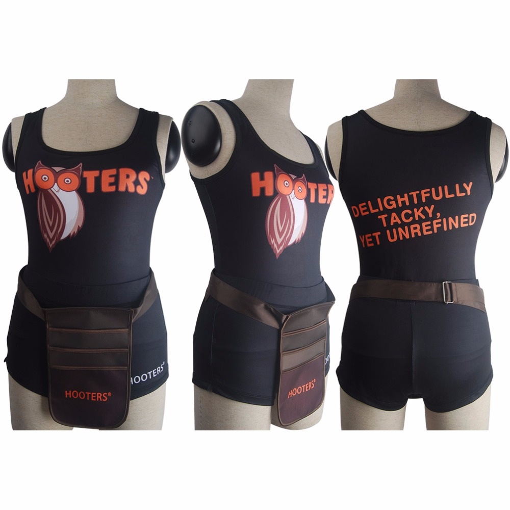 Hooters girls uniform sexy outfit bar maid waiter shorts tank top halloween costume