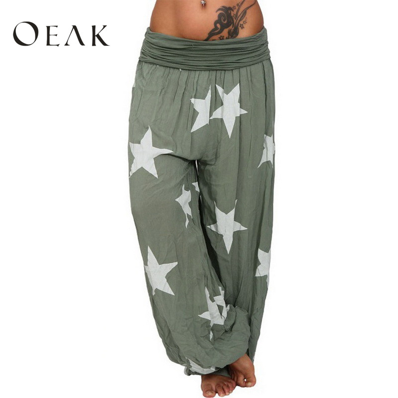 Oeak 2019 New Bohemian Boho   Pants   High Waist Casual Loose Wide Leg   Capris   Women Star Printed Harem   Pants   Autunm Plus Size