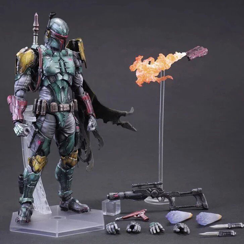 Single Sale 27cm Star Wars Action Figure Toys Boba Fett With Weapons Play Arts Collectible Gadget Gift Toys Decor Kits for Car