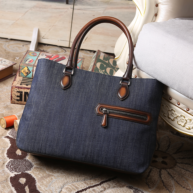 купить Toujours Leather handbag for men Fashion denim Tote Bag Male Sacoche Homme Document Laptop Shoulder Messenger Bags dropshipping дешево