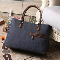 Toujours Leather handbag for men Fashion denim Tote Bag Male Sacoche Homme Document Laptop Shoulder Messenger Bags dropshipping