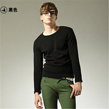 Male warm render unlined upper garment Add hair thickening long sleeve T-shirt Mens fashion cotton T-shirt 4 color M-2XL