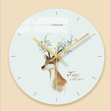 Minimalist wall clock quartz watch Nordic deer Glass Wall Clocks Home Decoration Living Room Silent 12 inch