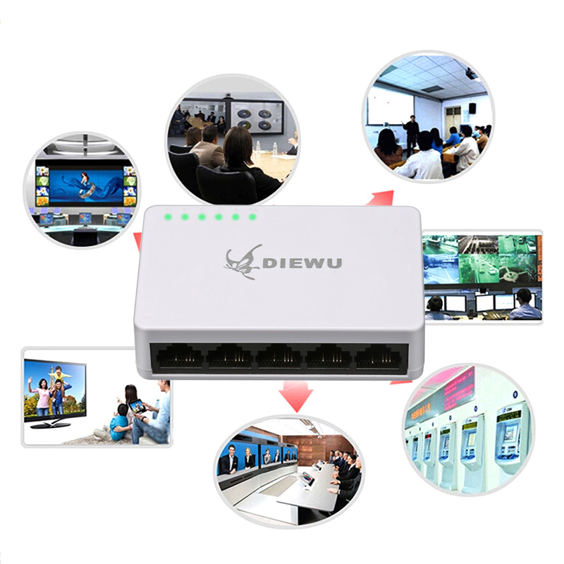 5 Port Ethernet Switch LAN Networks Hub Self-adaptive 10/100 Mbps Splitter QJY99