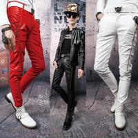 Stage personality men motorcyle leather pants men feet trousers singer dance tight skinny double zipper street novelty slim red