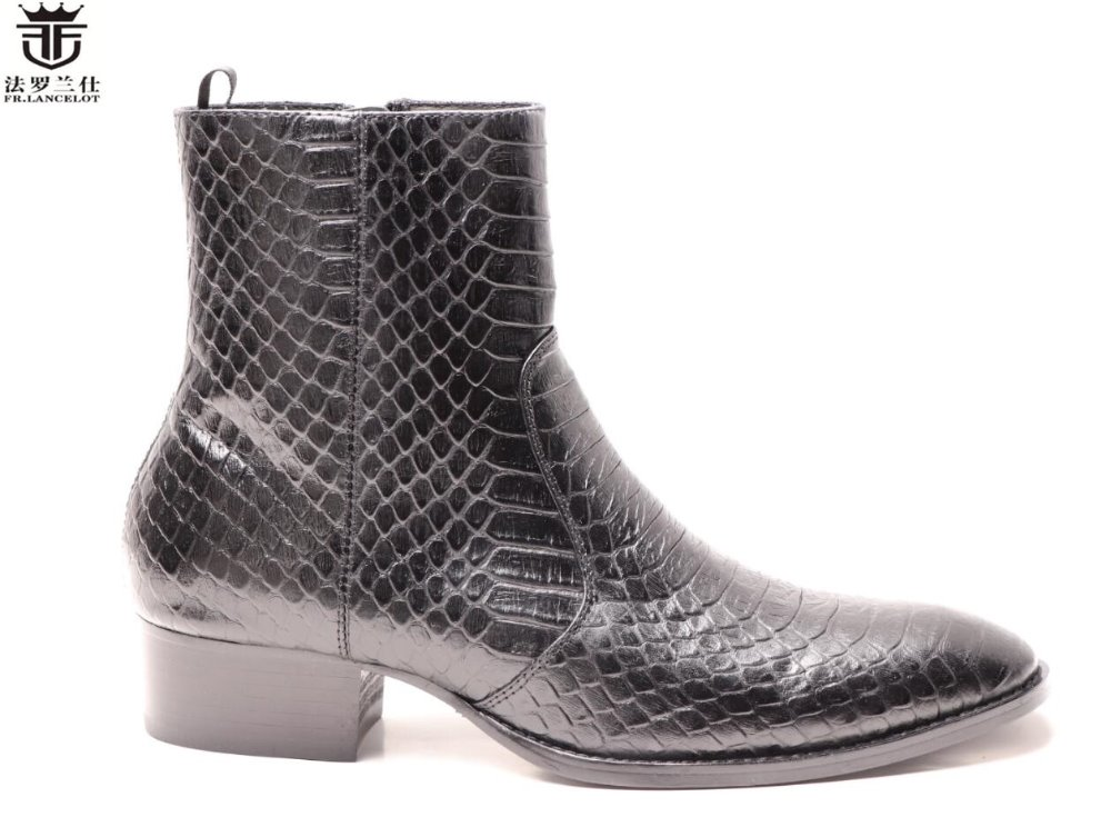 2018 FR.LANCELOT New fashion brand chelsea boots men cow leather boots snakeskin ankle botas high end zip men boots цена 2017