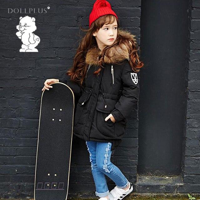 Детские зимние штаны детская Зимнее пальто для девочек Пух куртка для девочки с Мех для морозов куртка на мороз до -30 градусов теплое пальто