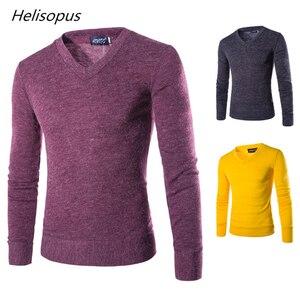 Helisopus Autumn Men Knitting Sweater V-