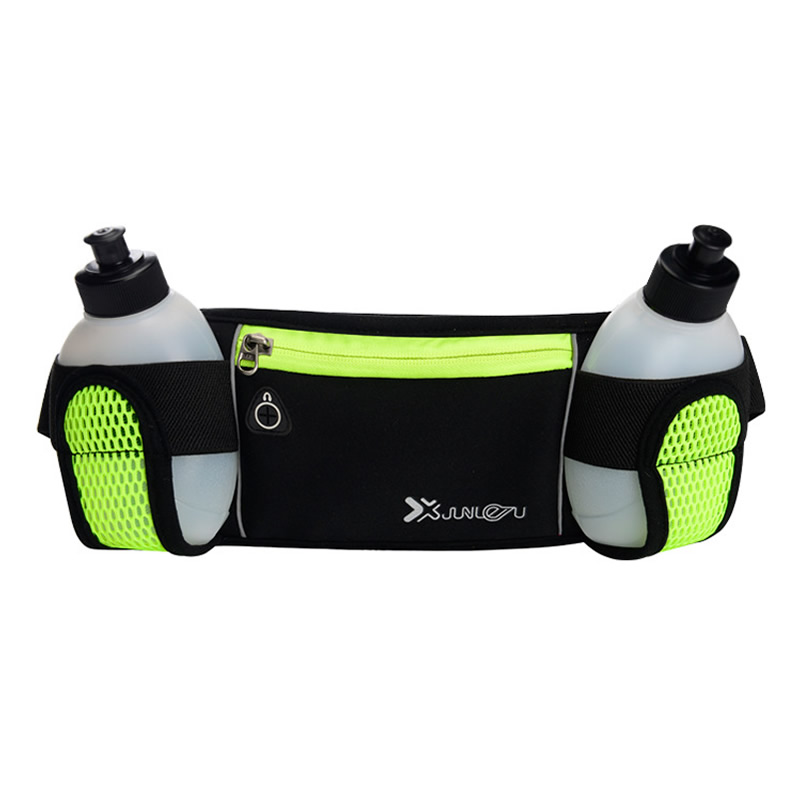 Light-weight Man Women Sports Running Waist Bags Outdoor Neoprene Hydration Belt Fanny Pack Fitness Phone Holder W/ 2 Bottles