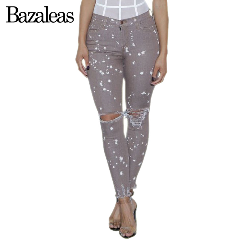 Bazaleas 2017 Sexy Knee Hole Women Jeans Female Gray Dot Print Casual Pants Skinny Jeans Women