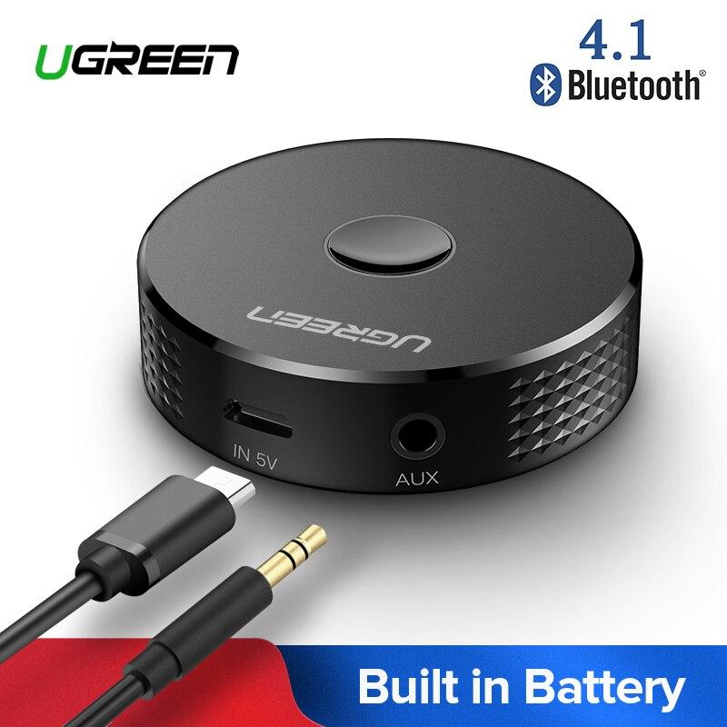 Receptor Bluetooth Ugreen 4,1 adaptador de música inalámbrico conector de 3,5mm receptor auxiliar con auriculares de batería para coche receptor Bluetooth de Audio