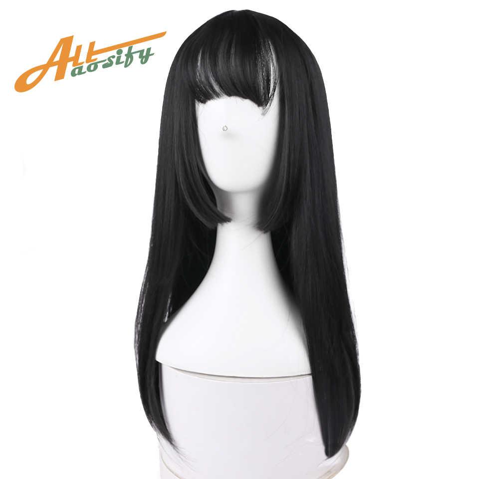 Allaosify 5 цветов Hime cut синтетические длинные натуральные прямые волосы Искусственные парики с Синтетические чёлки волос женские афроамериканские волосы коричневы