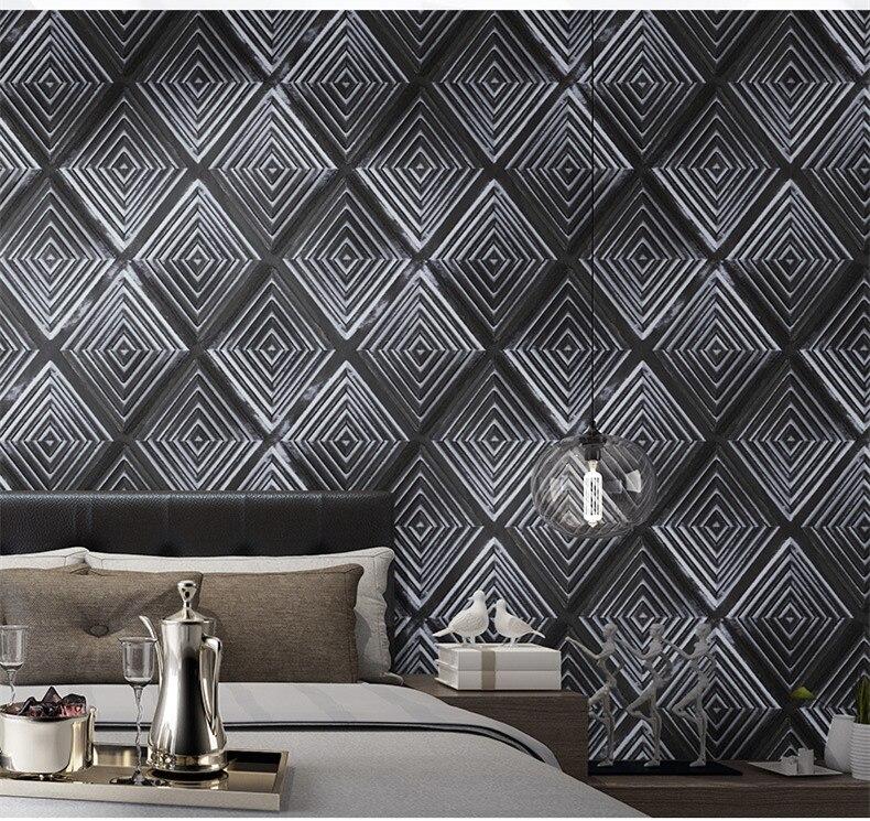 Papier peint 3d Grain Mural en bois Simple ligne papier peint blanc noir décor pour fond de salon revêtement Mural papier de parede