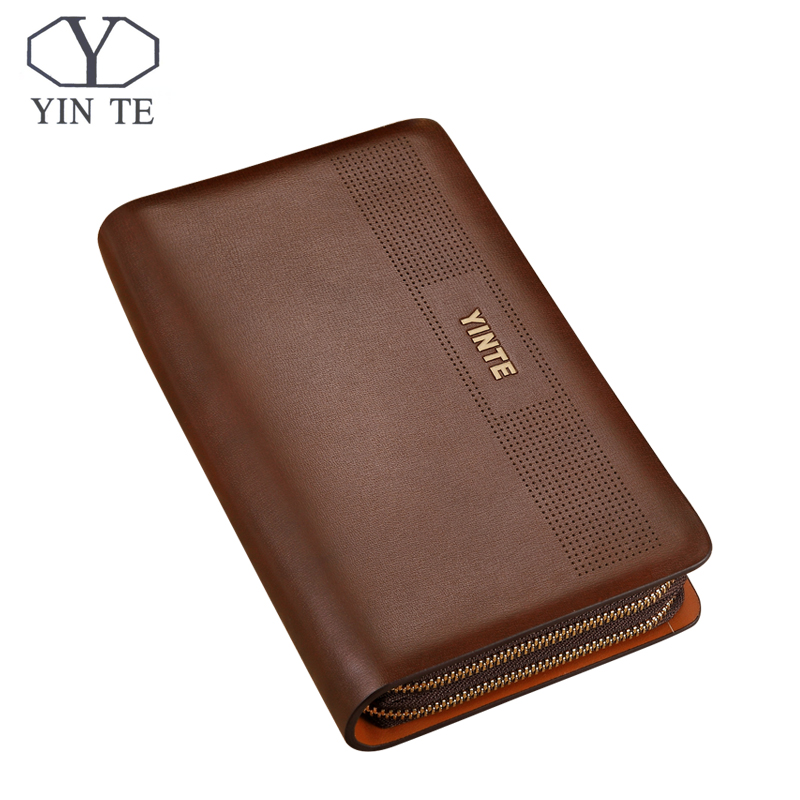 YINTE Men Clutch Wallets Long Zipper Male Wallet Leather Wallet Men Purses Wallet Male Clutch Handy Bag Portfolio C8106-5 Brown guess confidential chain slim wallet clutch brown