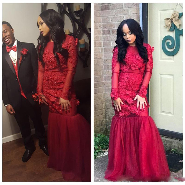 2017 Black Girl Mermaid Red Prom Dresses Lace Appliques