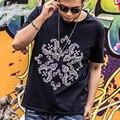 Plus Size camisa Dos Homens T 2016 Verão New arrivals O Pescoço algodão Preto Casual 6XL 7XL Tamanho Grande de Manga Curta Dos Homens T-shirt t16015
