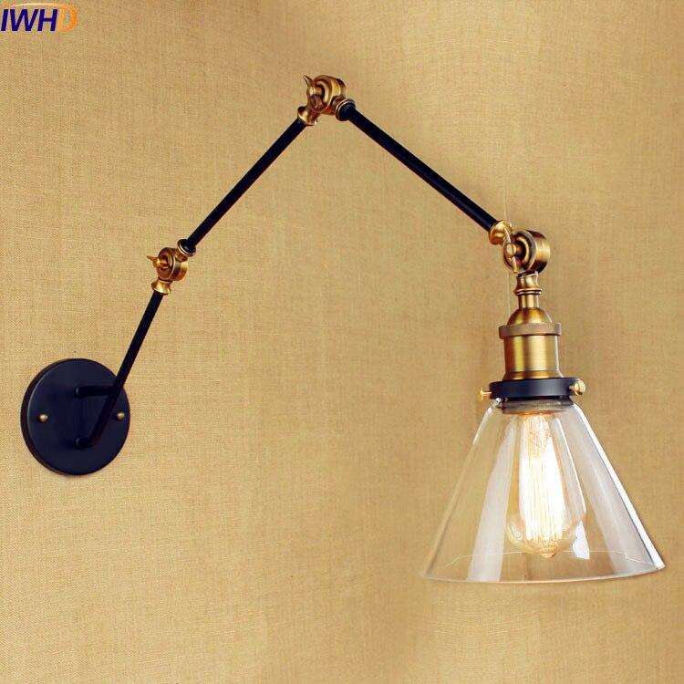 IWHD Glass Vintage Retro Wall Lights Wandlamp Loft Industrial Swing Long Arm Wall Lamp <font><b>LED</b></font> Stair Light Sconce Lampen <font><b>Aplik</b></font> Lamba