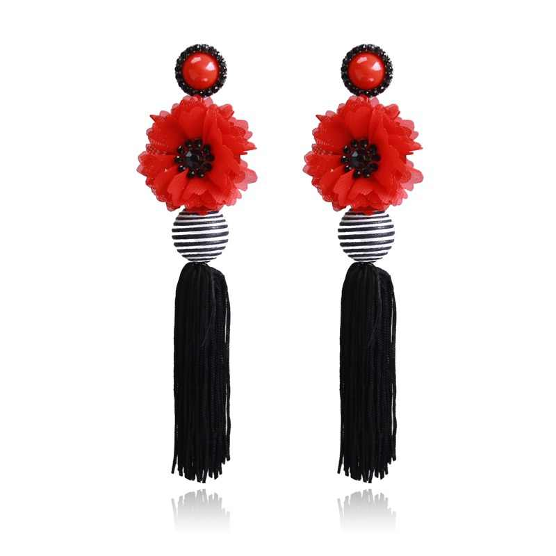 Ztech Red Pendant Za Earrings 2019 Handmade Resin Flower Crystal Beads Statement Bridal Earring Party Dangle Drop Earrings Gift