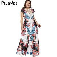 PlusMiss Plus Size 5XL Sexy Low Cut Floral Paisley Print Party Dress Women Clothing Large Size